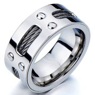 Man's Stainless Steel Ring Wedding Band with Steel Cables and Screws 10mm Jewelry