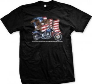 Bald Eagle American Flag Motorcycle T shirt Clothing