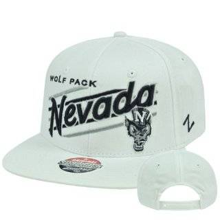 NCAA Nevada Wolf Pack Upshot White Zephyr Adjustable Snapback Flat Bill Hat Cap Sports & Outdoors