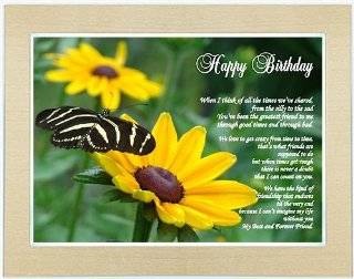 Birthday Gift for Friend Poem   I'm Grateful You're My Friend Poem Print in 5x7 Inch Gold Metallic Frame with Easel Back
