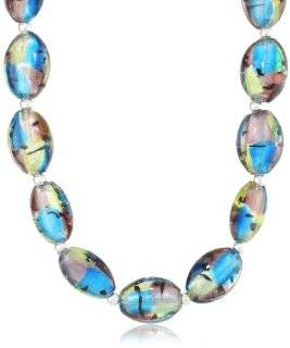 "Sterling Silver Multi Color Oval Hand Blown Glass Bead Necklace, 16+3"" Jewelry"