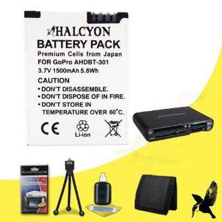 Halcyon 1500 mAH Lithium Ion Replacement AHDBT 301 + AHDBT 302 Battery + Memory Card Wallet + Multi Card USB Reader + Deluxe Starter Kit for GoPro HERO3+ Black Edition Camera GoPro AHDBT 301 + AHDBT 302  Digital Camera Batteries  Camera & Photo