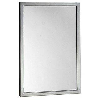 "Bobrick 2908 Series 304 Stainless Steel Welded Frame Tempered Glass Mirror, Satin Finish, 18"" Width x 36"" Height"