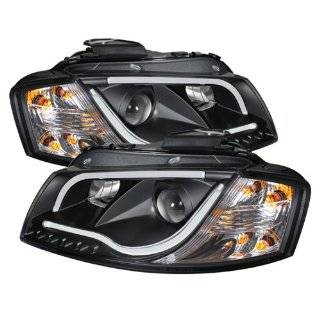 Spyder Auto (PRO YD AA306 LTDRL BK) Audi A3 Black Halogen Projector Headlight with LED Daytime Running Light Tube Automotive