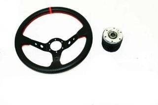 MITSUBISHI MIRAGE 88 91 320MM DEEP DISH JDM BLACK WITH RED STICHES STEERING WHEEL PLUS HUB ADAPTER PVC LEATHER Automotive