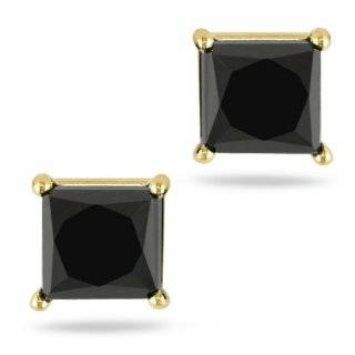 10K Yellow Gold, Black Diamond Earrings, (1 cttw) Jewelry