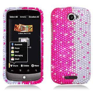 Eagle Cell PDHTCONESS322 RingBling Brilliant Diamond Case for HTC One S   Retail Packaging   Hot Pink/Silver Divide Cell Phones & Accessories