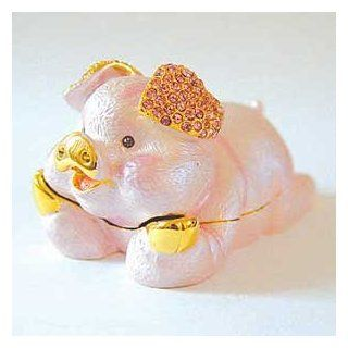 Pink Pig Box Swarovski Crystals Piggy Jewelry, Trinket or Pill Box FIGURINE   Collectible Figurines