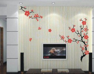 Nature Decal Wall Stickers Vinyl Wall Decor Plum Flower Flowers Tv Sofa Background Living Room Bed Room Paste Decals Removeable Art 326