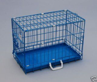 "Best Pet Blue 20"" Single Door Suitcase Style Folding Metal Dog Crate   20""(l) x 12""(w) x 14""(h)"
