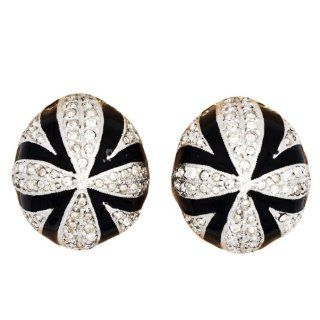 Kenneth Jay Lane Couture Art Deco Black Enamel & Sim. Diamond Clip on Earrings Jewelry