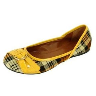 Qupid Flat Mustard/yellow Ballerina Style Casual Dress Shoes Serina 343 (7.5) Shoes