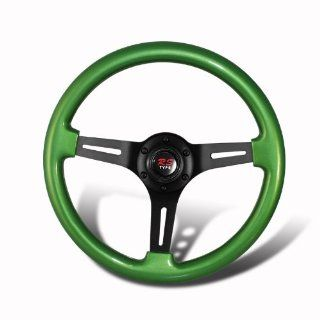 Universal 345mm 6 Hole Green Wood Grain Style Deep Dish Steering Wheel Automotive