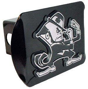 "University of Notre Dame Fighting Irish ""Black with Chrome ""Leprechaun"" Emblem"" NCAA College Sports Trailer Hitch Cover Fits 2 Inch Auto Car Truck Receiver Automotive"