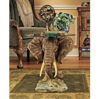 Lord Earl Houghton's Trophy Elephant Glass Topped Table   End Tables