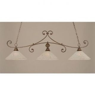 Toltec Lighting 353 BRZ 711 Curl   Three Light Billiard, Bronze Finish with Frosted Crystal Glass   Ceiling Pendant Fixtures
