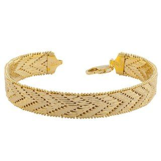 18 Karat Yellow Gold over Sterling Silver Diamond cut Riccio Bracelet (7.5 Inch) Jewelry