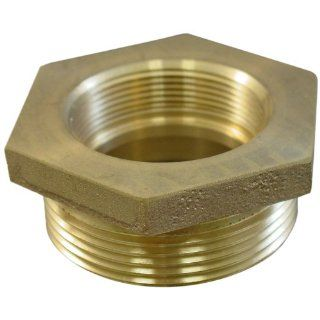 "Moon 357 1511521 Brass Fire Hose Adapter, Nipple, 1 1/2"" NPSH Female x 1 1/2"" NH Male Industrial Pipe Fittings"