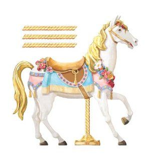 York Wallcoverings York Kids IV JV6280M Carousel Horse Mural, White/Gold