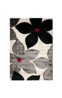 Safavieh Miami Shag Collection SG362 9091 Black and Multi Shag Area Rug, 4 Feet by 6 Feet   Black Red