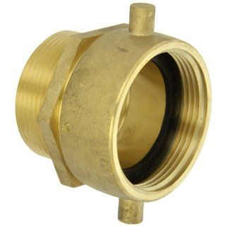 "Moon 363 2522561 Brass Fire Hose Adapter, Pin Lug Swivel, 2 1/2"" NH Swivel Female x 2 1/2"" NPT Male"
