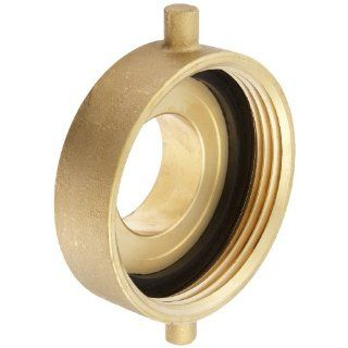 "Moon 369 4022521 Brass Fire Hose Adapter, Pin Lug, 4"" NH Female x 2 1/2"" NH Male"