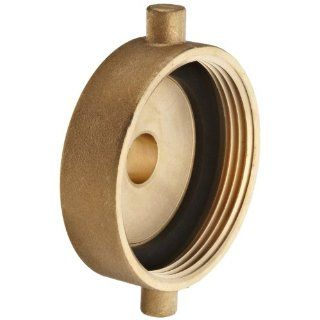 "Moon 369 1521011 Brass Fire Hose Adapter, Pin Lug, 1 1/2"" NH Female x 1"" NPSH Male"