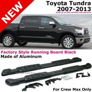Toyota Tundra 2007 to 2013 Crew Max Brushed Aluminum Black Side Step Bar Running Board Automotive