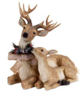 "17"" Sitting Deer and Fawn with Snow Flocked Burlap Bow Christmas Decoration   Holiday Figurines"