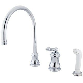 Kingston Brass KS3811AL Restoration Gooseneck Kitchen Faucet with Metal Lever Handle and Side Spray, Polished Chrome   Touch On Kitchen Sink Faucets