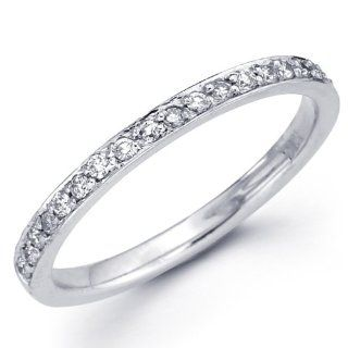 14K White Gold Diamond Pave Setting Ladies Women Round Cut Wedding Anniversary Ring Band (1/6 CTW., GH, SI) GoldenMine Jewelry