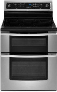 "Whirlpool GGE388LXS Gold 30"" Stainless Steel Electric Smoothtop Double Oven Range Appliances"