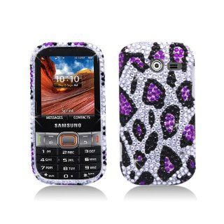Purple Silver Leopard Bling Gem Jeweled Crystal Cover Case for Samsung Array Montage SPH M390 Cell Phones & Accessories