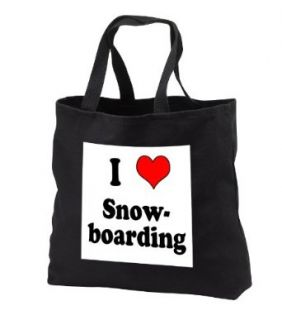 EvaDane   Funny Quotes   I love snowboarding. Heart.   Tote Bags   Black Tote Bag 14w x 14h x 3d Clothing