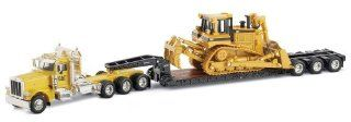 Norscot Peterbilt 389 with Trail King Lowboy Trailer with Cat D8R load 150 scale Toys & Games