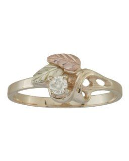 10k Yellow Gold Diamond Ring with 12k Pink Gold and 12k Green Gold Hand Sculpted Leaves (April Birthstone Ring) Black Hills Gold Jewelry by Coleman Jewelry