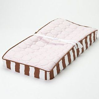 Bacati   Quilted Circles Pink/Choco Changing Pad Cover Baby
