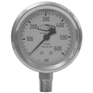 "Dixon Valve GLS405 Stainless Steel Case Liquid Filled Gauge with White Aluminum Dial, 1/4"" Lower Mount, 2 1/2"" Face, 0 30 PSI Maximum Pressure, 0.5 Minor Gradient Countersink Gauges"