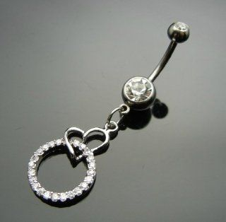 SALE OUT Limited STOCK 2014 model TC404  Heart Circle Silvertone RS 316L Navel Belly Ring Body Piercing Health & Personal Care