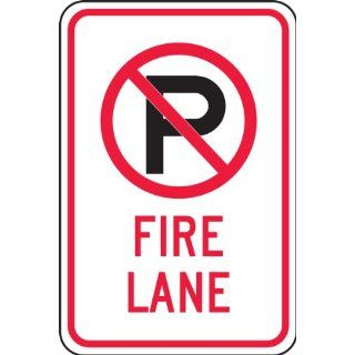 "Accuform Signs FRP405RA Engineer Grade Reflective Aluminum Parking Restriction Sign, Legend ""FIRE LANE"" with No Parking Graphic, 12"" Width x 18"" Length x 0.080"" Thickness, Black/Red on White"