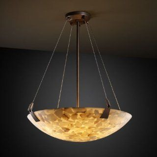 "Justice Design Group ALR 9642 MBLK Matte Black Alabaster Rocks 24"" Pendant Bowl Ceiling Fixture from the Alabaster Rocks Collection"