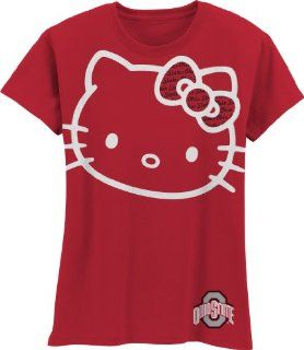 NCAA Ohio State Buckeyes Hello Kitty Inverse Girls Crew Tee Shirt, Red, 6/7  Sports Fan T Shirts  Sports & Outdoors