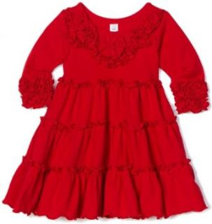 Love U Lots Baby Girls Infant Tiered Dress with Ruffles and Flowers, Red, 18 Months Clothing