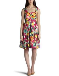 Suzi Chin Women's Floral Print Silk Dress,Multi,4 Clothing