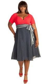 IGIGI Plus Size Rita Vintage Polka Dot Dress in Bijou Blue 12