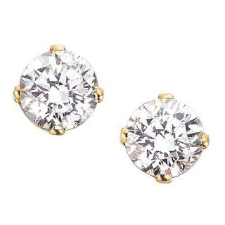 14K Yellow Gold 1/10 ct. Round Brilliant Cut Diamond Earring Studs (Good, G H Color, I1 Clarity) Katarina Jewelry