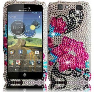 "VMG For Motorola Atrix HD MB886 Gem Bling Rhinestones Design Hard Case Cover   Silver Blue Pink Flower Gem Bling Design Hard 2 Pc Plastic Snap On Case for Motorola Atrix HD AT&T Cell Phone *** For Newer Atrix ""HD"" 2012 Model Only *** Cell Ph"