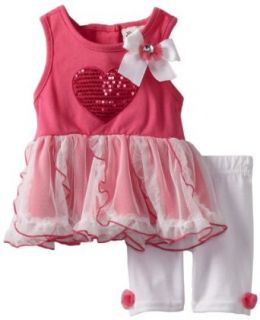Little Lass Baby Girls Infant 2 Piece Dress Set with Heart, Fuchsia, 3 6 Months Clothing