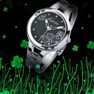 Fashion Cool Black Lady Bracelet Watch Simple Stylish Four leaf Clover Surface Design High quality alloy strap Japanese Movement Pointer Display WK425L Watches