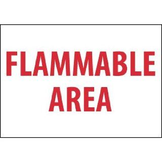 "NMC M426R Restricted Area Sign, Legend ""FLAMMABLE AREA"", 10"" Length x 7"" Height, Rigid Polystyrene Plastic, Red on White"